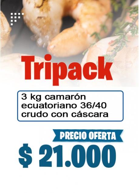 Oferta Tripack Camaron 36/40  crudo con cascara 3 kilos